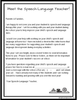 Start of the Year Parent Letter Home-Speech Therapy