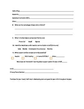 Start of the Year Questionnaire