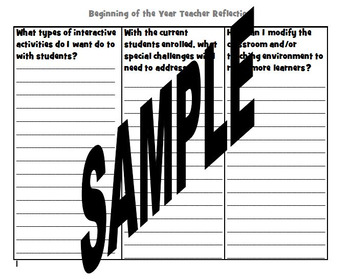 Start of the Year Reflection Graphic Organizer Journal