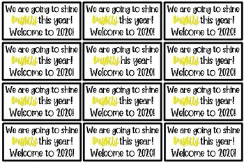 Start of the Year Tags - Shine Brightly