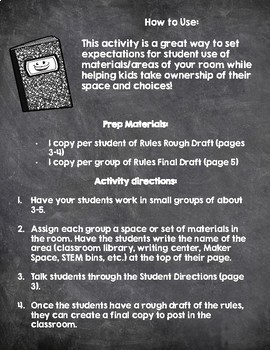 Start of the Year (or Any Time!) Classroom Rule-Making Freebie
