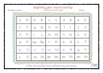 Start of the year alphabet and sound testing