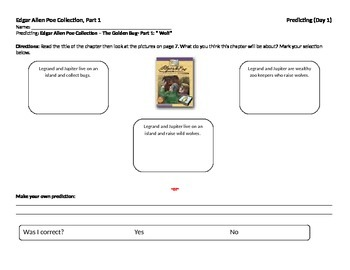 Start-to-Finish Guided Reading Student Worksheets for Edgar Allen Poe Collection