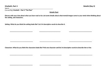 Start-to-Finish Student Worksheet for Guided Reading Macbeth