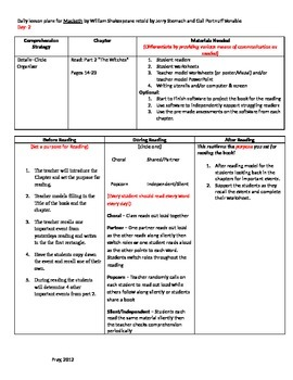 Start-to-Finish Teacher Lesson Plans for Guided Reading Macbeth