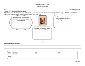 Start-to-Finish Teacher WS for Guided Reading The Invisible Man