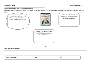 Start-to-Finish Teacher Worksheets for Guided Reading Macbeth