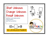 Start unknown, change unknown, result unknown practice pages