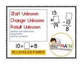 Start unknown, change unknown, result unknown practice pages