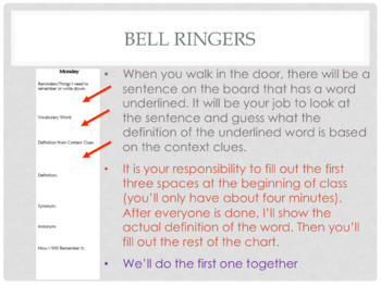 Starter/Bell Ringers - Vocabulary Words by Context Clues