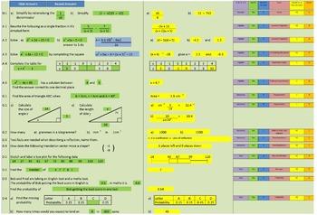 Math Lesson Starter Spreadsheet - generates a new set of q