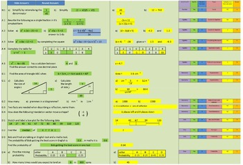 Math Lesson Starter Spreadsheet - generates a new set of questions on demand.