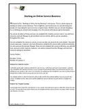 Starting An Online Service Business