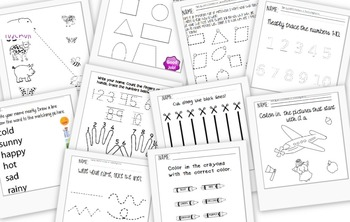 Starting Preschool- Worksheet Bundle