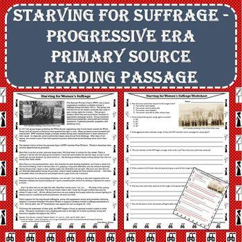 Starving for Suffrage - Progressive Era Movement Primary Source Reading Passage