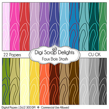 Stash Pack 2 Digital Scrapbook Paper Quatrefoil, Chevron, Polka Dots, Faux Bois
