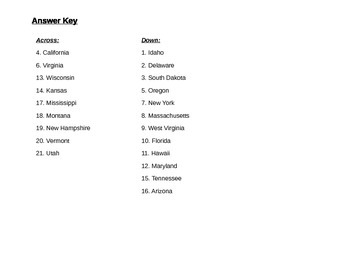 State Abbreviations Crossword Puzzle with Answer Key