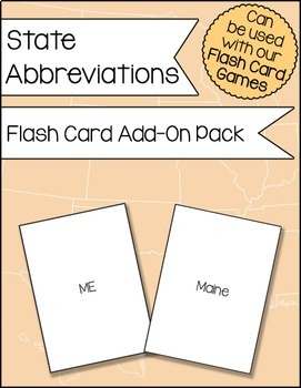 State Abbreviations Flash Card Add-On Pack