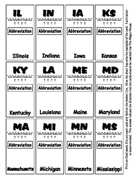 State Abbreviations Magic House Pieces - Center Supports