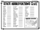 State Abbreviations: Maps, Worksheet & Quiz (Test) with 2 Difficulty Options
