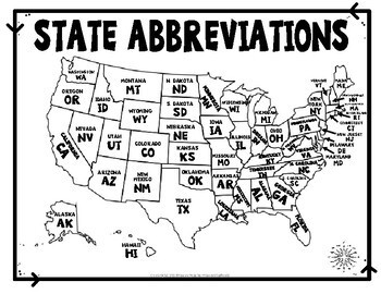 Abbreviations Maps Worksheet Quiz Test With Difficulty Options - Map with state abbreviations