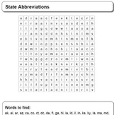 State Abbreviations - Word Search