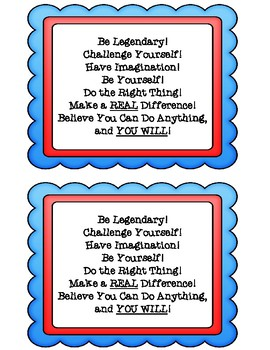 """State Assessment Motivational Quote """"Be Legendary"""" Designed for Testing Events"""
