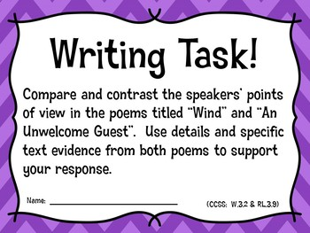 State Assessment Practice Poems & EBSR Comprehension Questions