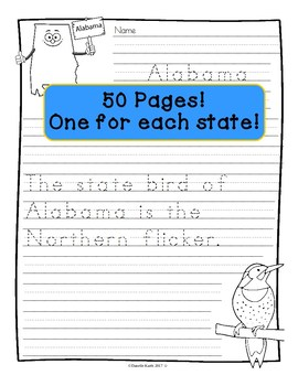 State Bird Copywork - Practice Penmanship and Learn - Level !