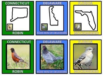State Birds - State Shapes w/Bird Images and Names