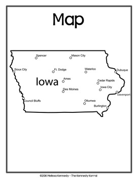 Iowa State Book {Map, Bird, Flag, Flower, Landmark, Animal, Tree & MORE}
