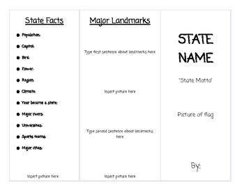 state brochure template teaching resources teachers pay teachers