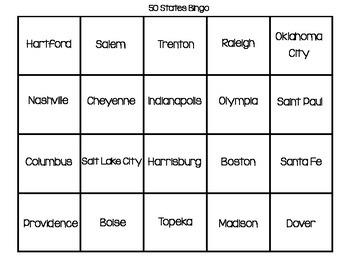 State Capital Bingo Game