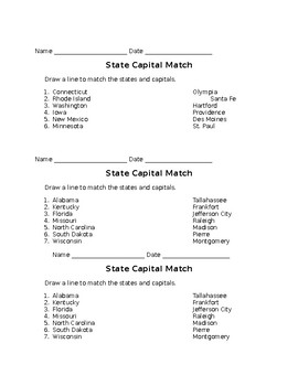 State Capital Matching Quizzes