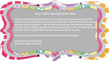 State Capital Review Game