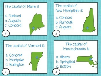 States and Capitals Task Cards