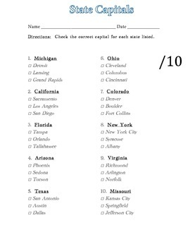 State Capitals (10 questions, multiple choice)