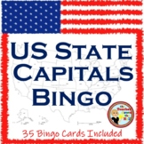 United States - Capitals Bingo!  Classroom Activity w/ 35 Bingo Cards!