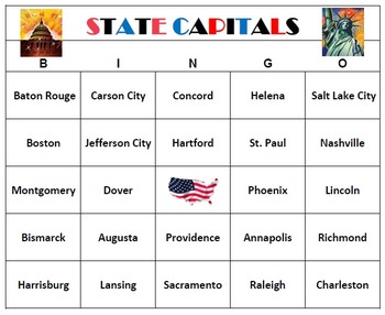 State Capitals Bingo Teaching Game Printable
