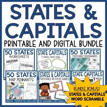 State Capitals Bookmarks & Task Cards- State Capital Word