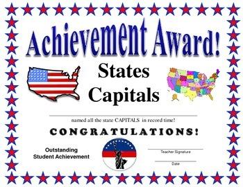 State Capitals Certificate