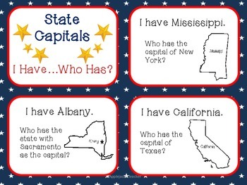 """State Capitals - """"I Have... Who Has?"""" Game"""