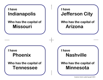 State Capitals I Have, Who Has Game