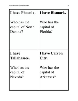 State Capitals Loop Around Game