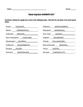 State Capitals Puzzle Worksheet