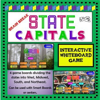 State Capitals SMART Board Game (Geography / Brain Break)