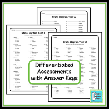 State Capitals Tests - Differentiated