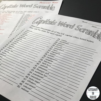 State Capitals Word Scramble