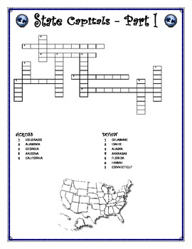 State Capitals Word-cross Part 1