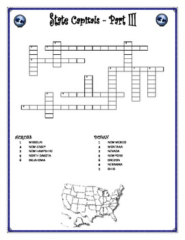 State Capitals Word-cross Part 3